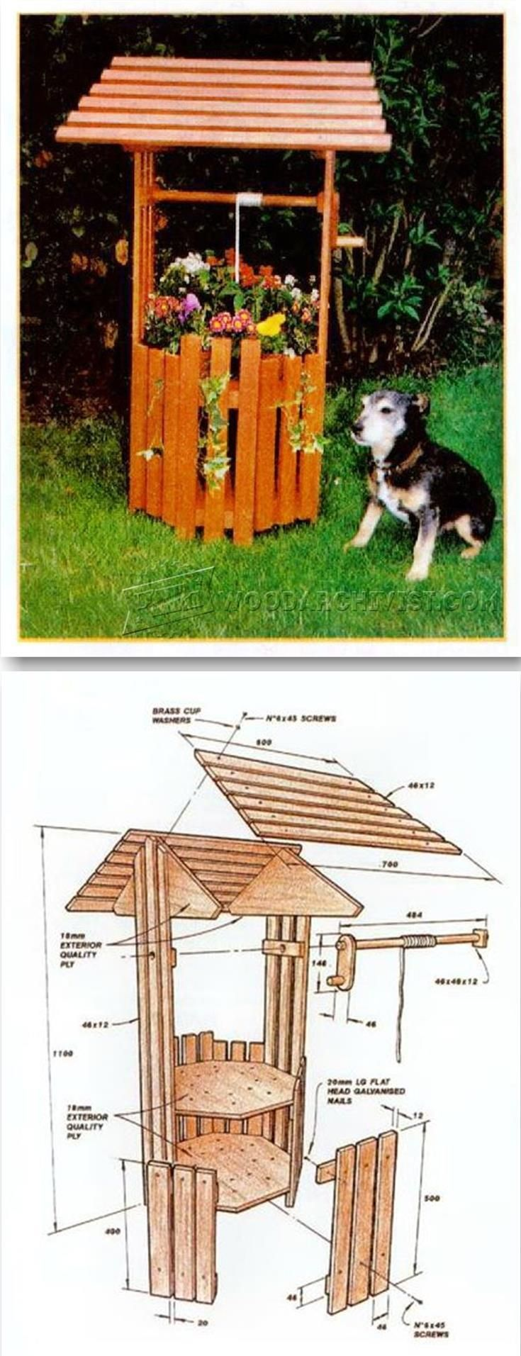 Wishing well lawn ornament - Wishing Well Planter Plans Outdoor Plans And Projects Woodarchivist Com
