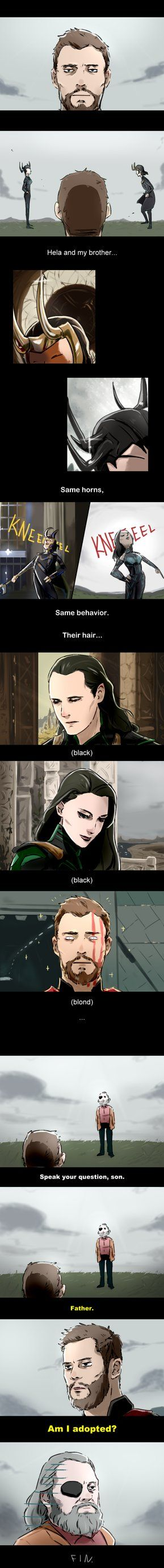 Fan comic of Thor: Ragnarok. Thor was confused about the fact that how similar that Loki and Hela are. The horns, the act, the hair... Don't be sad, Thor Odinson, at least you got the crown. Here a...