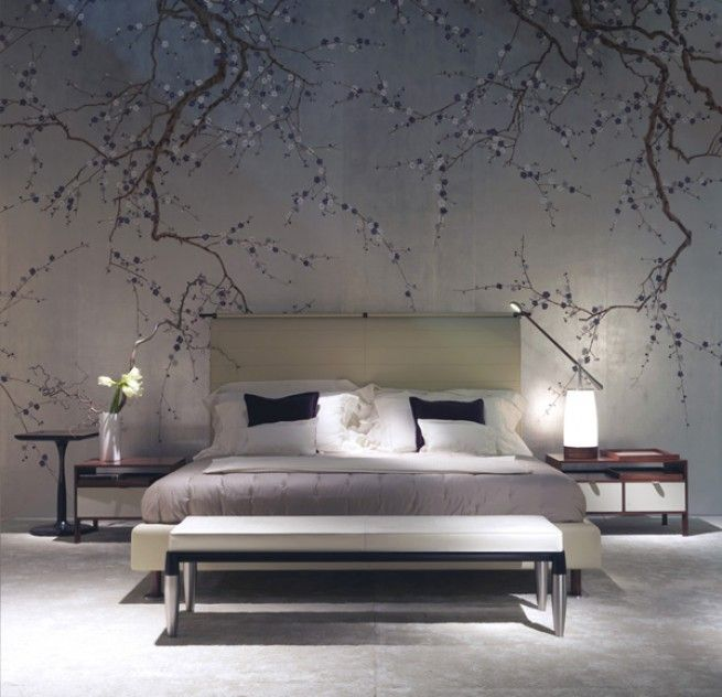 Exquisite bedroom with DeGournay plum blossom wallpaper