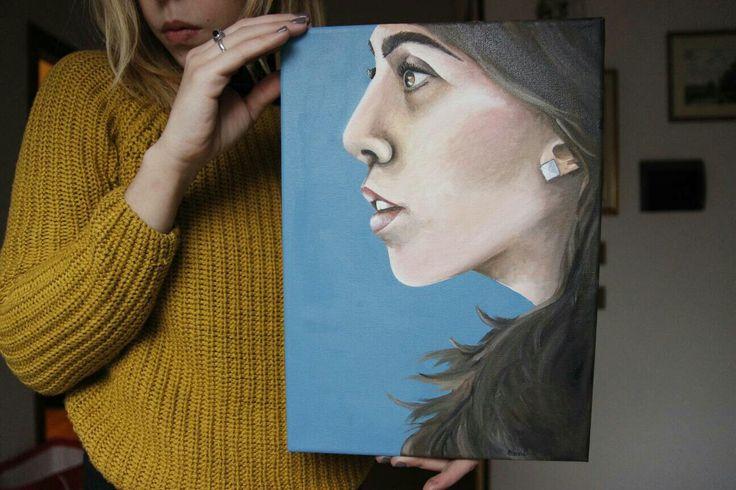 """Elena Capodicasa (BiHellen Artist) """"Ritratto di donna sul blu"""""""