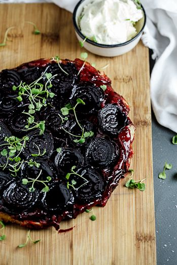 Beetroot Tarte Tatin with Goat's cheese cream. #recipe