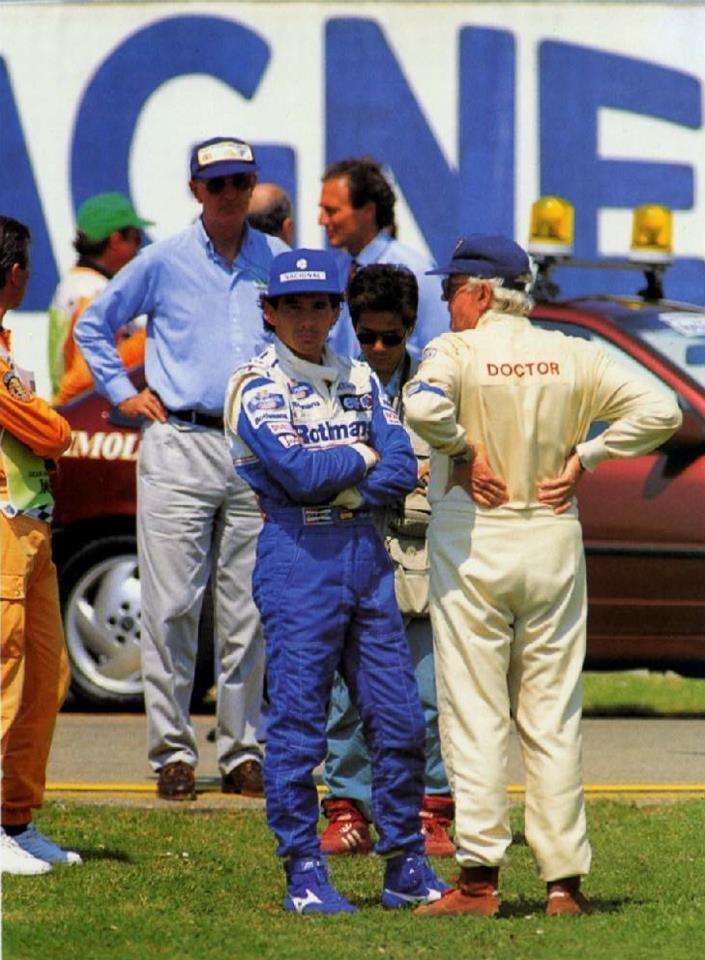 1994/4/30 - Ayrton Senna and Professor Sid Watkins after Ratzenberger´s crash - XIV Gran Premio di San Marino, Autodromo Enzo e Dino Ferrari - Imola