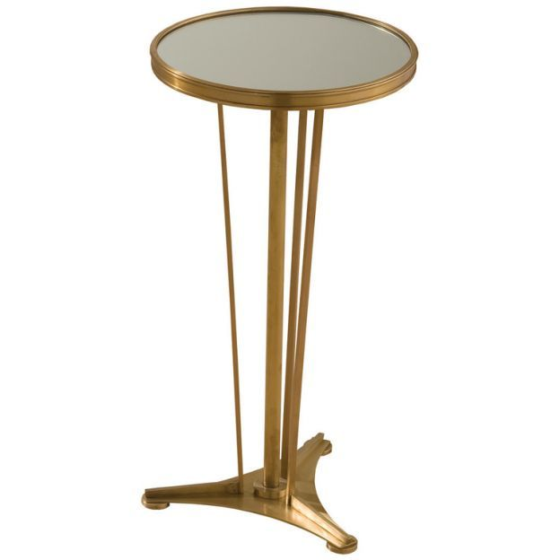 Genevieve Side Table   French Modern Style Side Table In Antique Brass  Finish And Mirrored Top\ Paulo Moschino By Nicholas Haslam