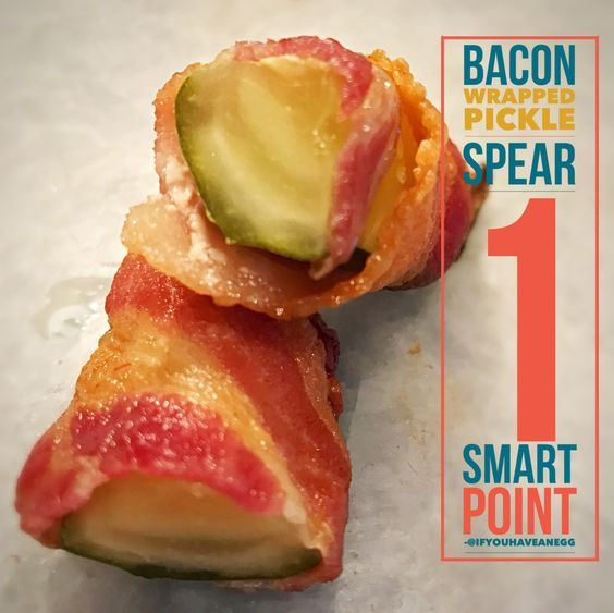 Bacon Wrapped Pickle Spears, 1 WW Smart Point If you accomplish nothing else today.  Bacon wrapped pickle spear.  1 Smart Point.  #goals  #weightwatchers #ifyouhaveanegg #wwwithkelly #bacon #baconwrappedeverything #baconwrappedpickles #wwmoms #wwmeals #wwfamily www.ifyouhaveanegg.com
