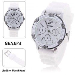 Lady's Wrist Watch with Numeral-12 and Strips Indicate Time Round Dial White Rubber Watchband