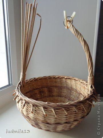 Мастер-класс Поделка изделие Плетение корзинки и мини МК ручки Трубочки бумажные фото 8