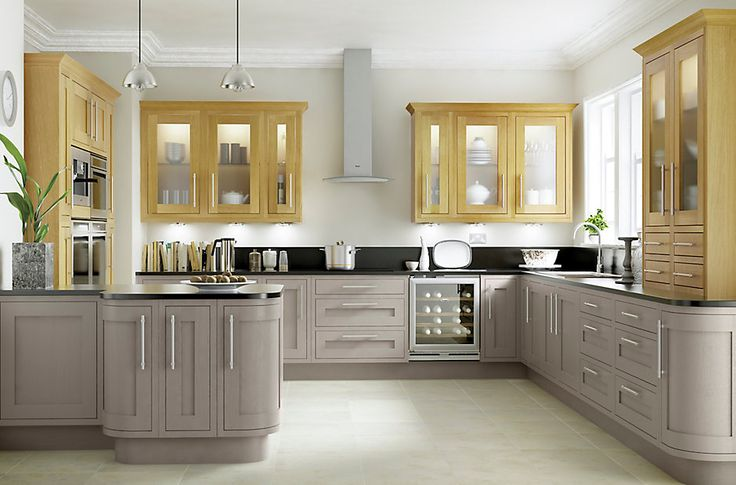 Cooke & Lewis Carisbrooke Taupe Framed   DIY at B&Q. Not sure on toop units but Note black worktop with these base units. Light floor looks good too