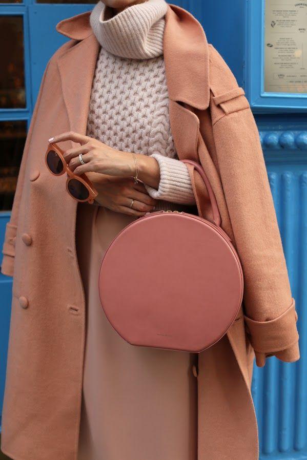 Coat: Tibi (also here). Slip Dress (under $50). Shoes: Club Monaco. Bag: Mansur Gavriel. Sunglasses: Old, similar. Sweater: Club Monaco (on sale).