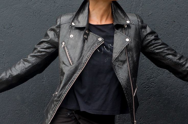 IN STOCK. Black Leather Jacket. Genuine leather Jacket.  Black Biker Jacket. Python leather jacket. Black rocker leather jacket. by StudioANTU on Etsy
