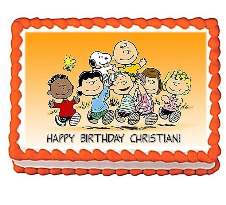 The Peanuts Gang Personalized Happy Birthday Edible Cake Image Topper