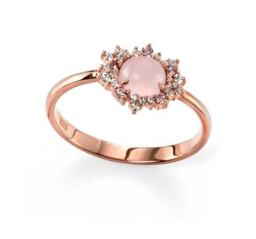Sterling-Silver-Rose-Gold-Plated-Rose-Quartz-and-Cubic-Zirconia-Cluster-Ring