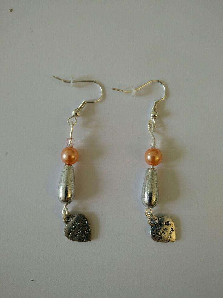 Boucles d'oreille perle rose et argentée + motif coeur #diy #french #earring