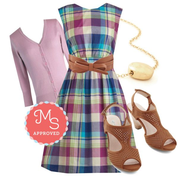 In this outfit; Too Much Fun Dress in Bright Plaid, Leaps and Bountiful Heel, Charter School Cardigan in Lavender, Best of Boston Belt, Gild to Last Necklace #plaid #pastel #belts