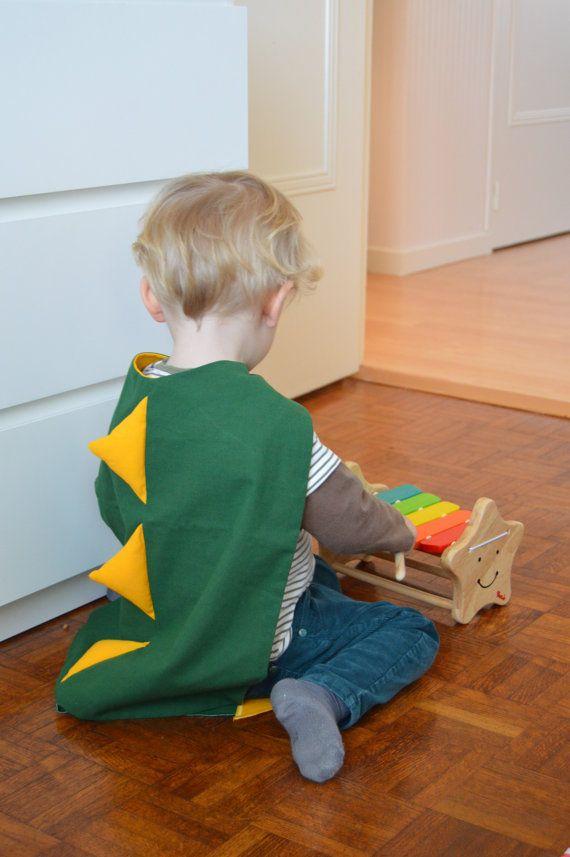 Kids Dinosaur Dragon Cape, Boys, Girls, Green, Monster, Playtime, Games, Cape, Fun, Yellow, Tail, Handmade, Children, Make believe, Cotton