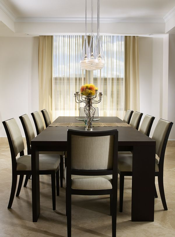 High Quality Dining Room, Modern Dining Room Furniture With Black Modern Dinning Table  And Chair Also White Curtain And Beauty Lamp: Wonderful Modern Dining Room  ...