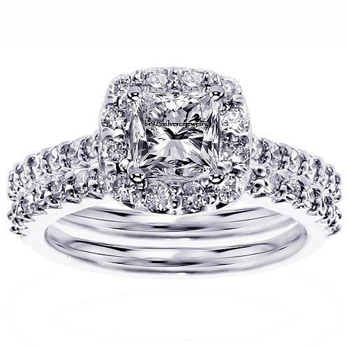 D/VVS1 Diamond Engagement Ring 2.25 Ct Round Cut 14k White Gold Bridal Jewelry #br925sliverczjewelry #EngagementWeddingAnniversaryPartyDailyWear