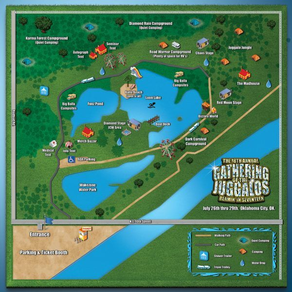 Gathering of the Juggalos Map Updated!   Were a mere 2 weeks away from this years Gathering of the Juggalos! Can you believe it snuck up on us this quickly?  A lot of you ninjas have been keeping tabs on any changes and updates to the timeline map events and anything else that may be happening at JuggaloGathering.com.  It looks like at some point today some things were shuffled around and renamed on the official Gathering Map!  If you have the old one saved you might want to update it with…