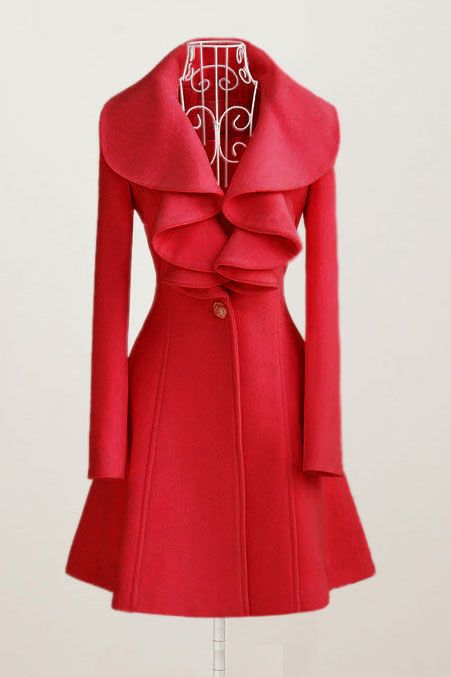 Doresuwe.com SUPPLIES 新着ソリッドカラーファルバラ襟ウールオーバーコート  ファッショントレンド (5)