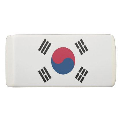 Patriotic Wedge Eraser with flag of South Korea - stylish gifts unique cool diy customize