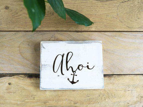 Anker 15 cm Personalisiert aus Holz Maritim Deko Meer Tisch Wanddeko Geschenk