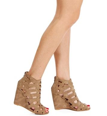 Brown Cutout Peep Toe Wedges