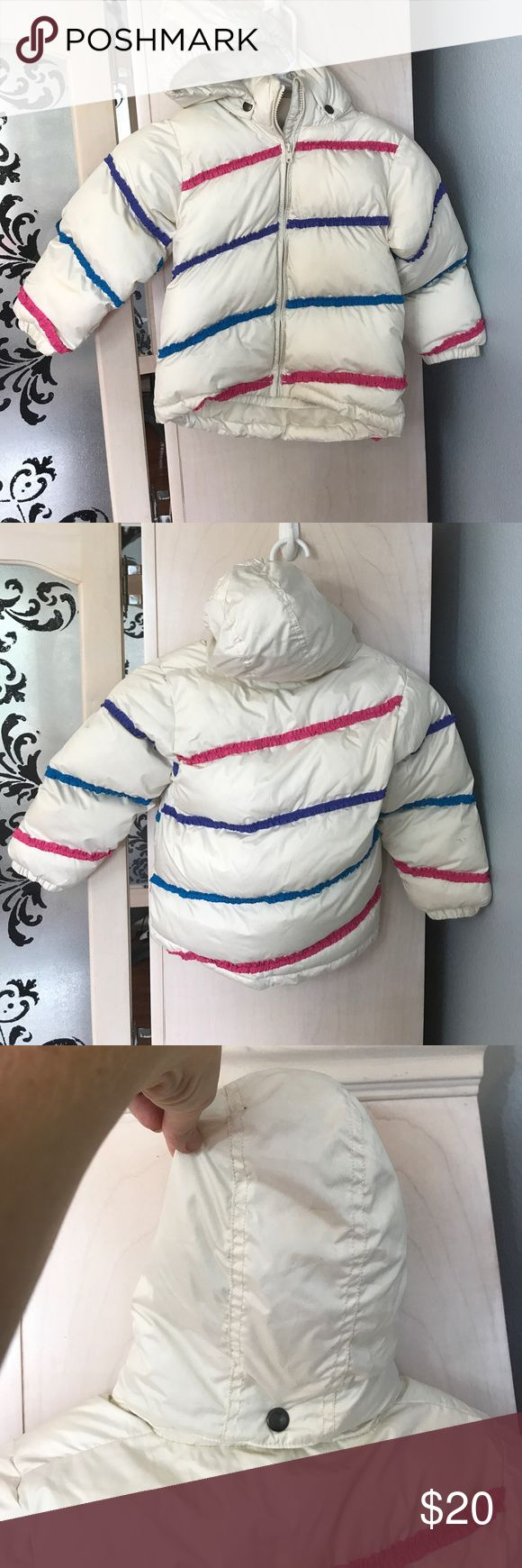 Kids snow jacket Cream puffer with pink, purple, blue stripes. Zips up. Size S fits anywhere from a 3t to a 6. Some discoloration on arm, will probably come out with laundering. pulse Jackets & Coats Puffers