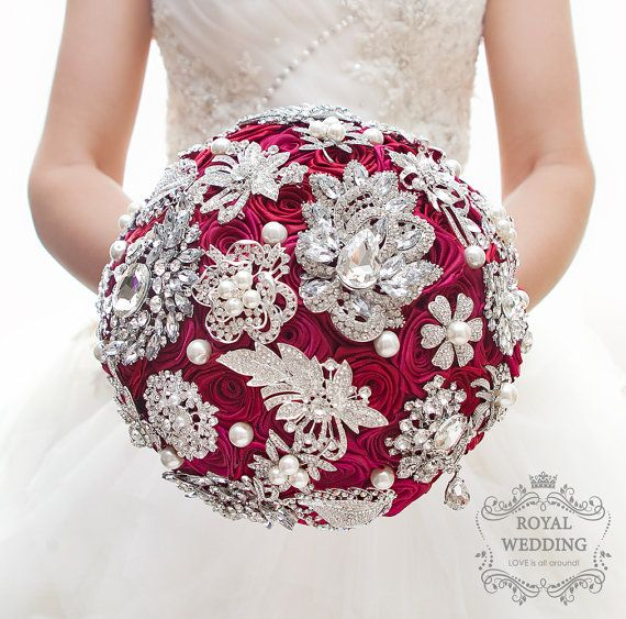 Red Brooch Bouquet Cherry Bridal Silver Crystal Brides Wedding. Gold Jeweled Brooch Bouquet Blush Pink Rode Ivory Bridal Coral Wedding Bouquet Brides Keepsake Bridesmaids Jewelry Broach Brooch Bouquet