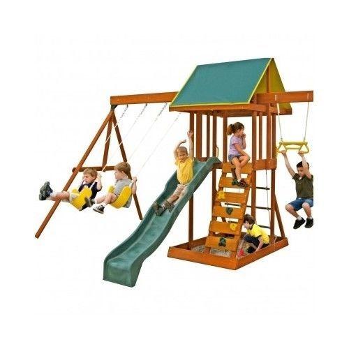Wooden-Swing-Set-Kids-Outdoor-Play-Backyard-Slide-Sand-Box-Child-Toys-Playground