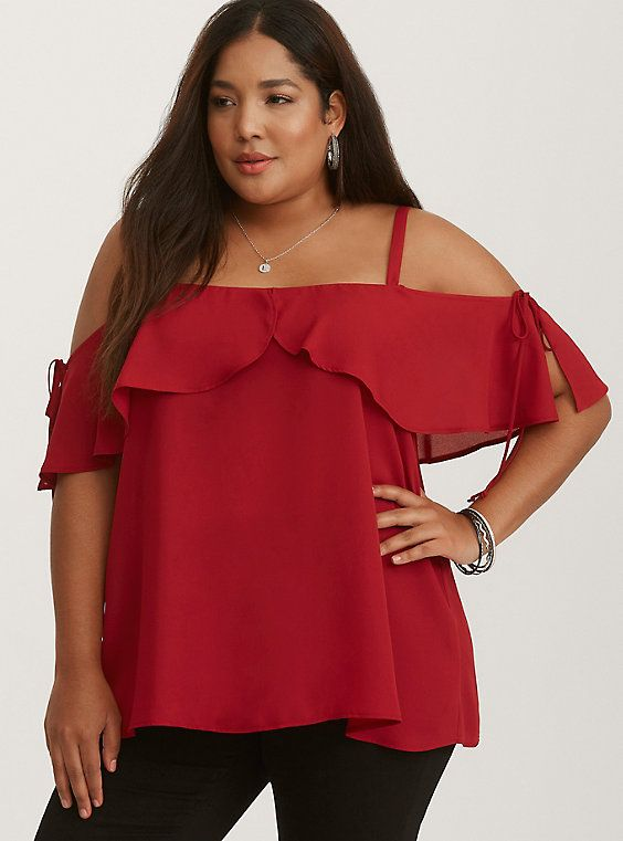 7b25760b60e629 Red Crepe Ruffled Tie Cold Shoulder Top