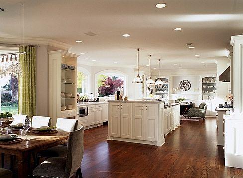open floor planSarah Richardson, Dining Room, Dreams Kitchens, Open Floors Plans, Kitchens Ideas, Open Kitchens, White Cabinets, Design, White Kitchens