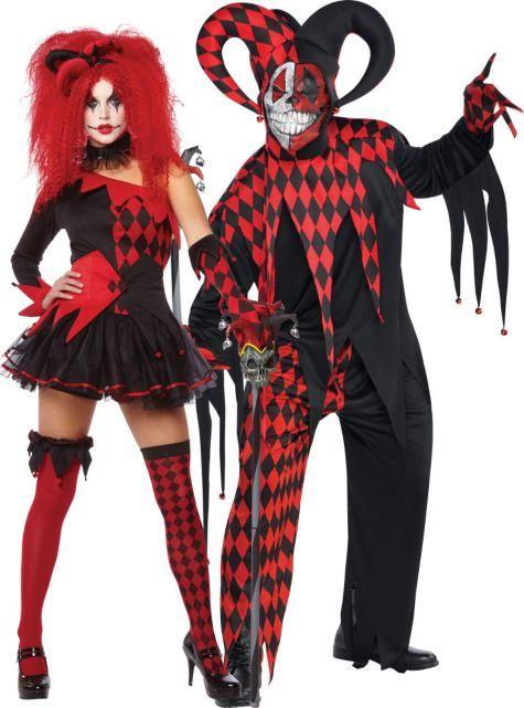 Red Jester Couples Costumes: Jesterina & Krazed Jester Costume - Party City