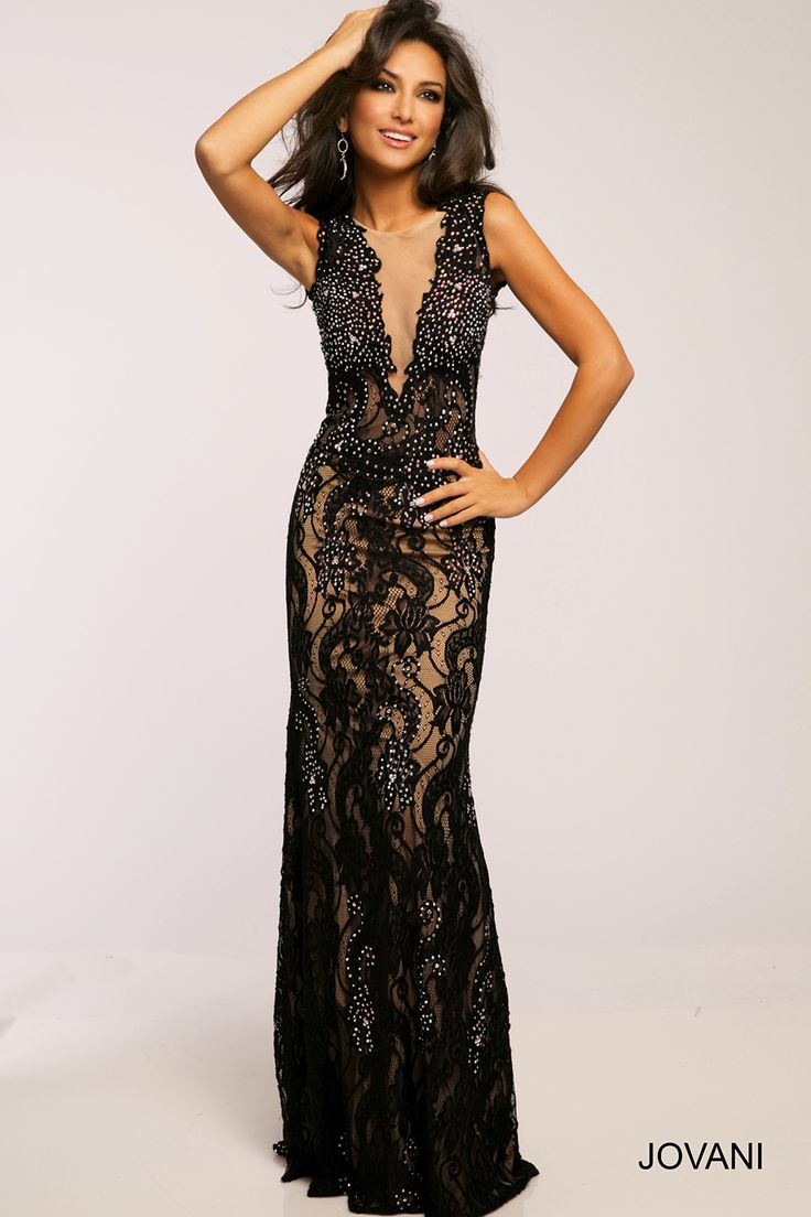 Jovani Dress 36754 Black Sleeveless Fitted Dress With Prom Dresses Jovani Prom Dresses Sleeveless Prom Dresses