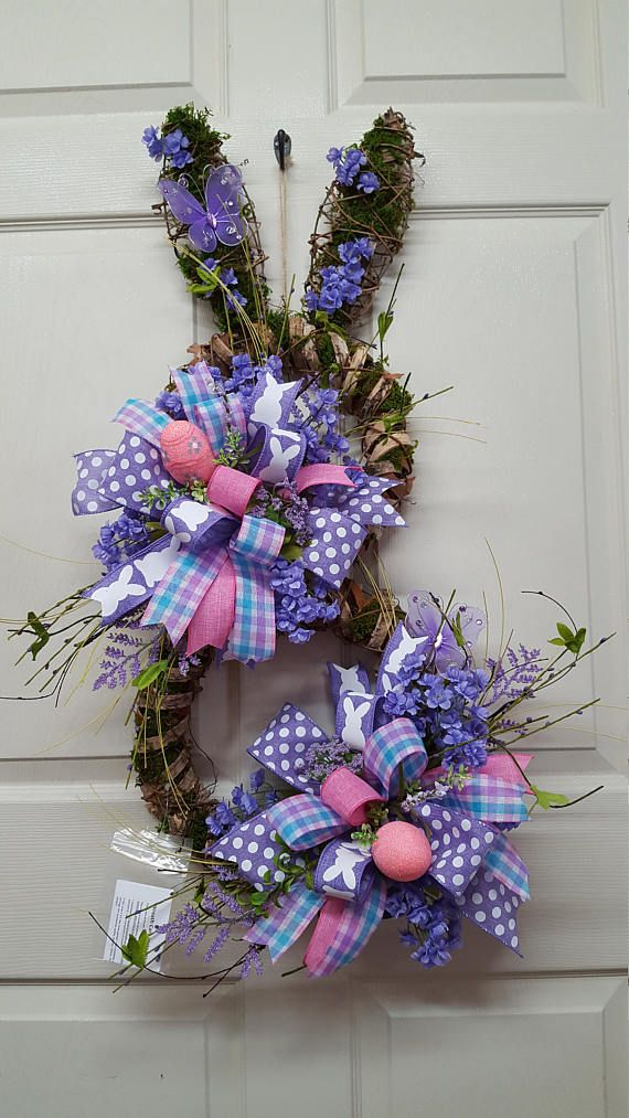 Easter, Easter Wreath, Easter Bunny, Bunny Wreath, Easter Rabbit, Welcome Easter Bunny Wreath, Easter Wall Decor, Spring Wreath Fun and unique, but sweet n cute, need I say more! This Easter Bunny is created on a Metal silhouette wire frame of a bunny rabbit covered in birch tree bark and