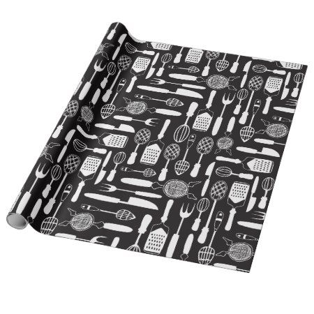 Kitchen Utensil Pattern Wrapping Paper - click/tap to personalize and buy #pattern #patterns #illustrations #illustration #giftwrap #giftwrapping #blackandwhite