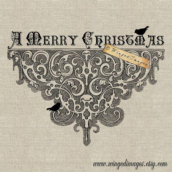 Ornato Merry Natale Instant Download digitale immagine No. 144