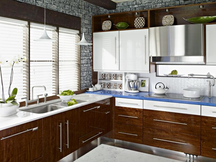 Not so much the Bright blue countertops, but like this whole look