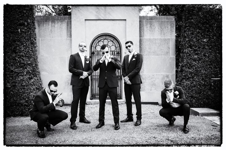 Black and white portrait of groom and groomsmen   Parkwood Estate, Oshawa   Toronto Wedding Photographer Pedram Navid
