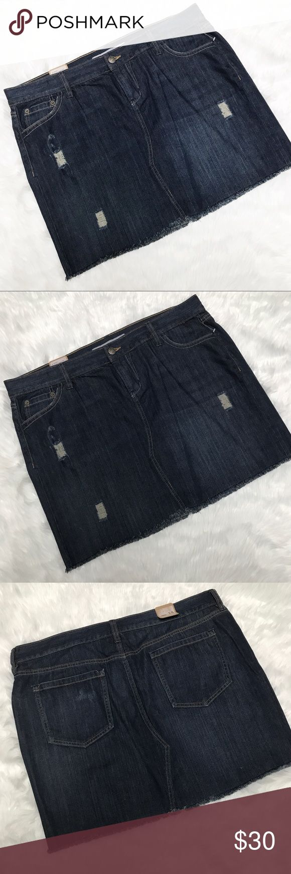 Old Navy • Denim Skirt NWT, Old Navy Denim Skirt with distressing. Perfect skirt for any season, can be dressed up with heels or down with sneakers! Size 14. 1022GWB449 Old Navy Skirts
