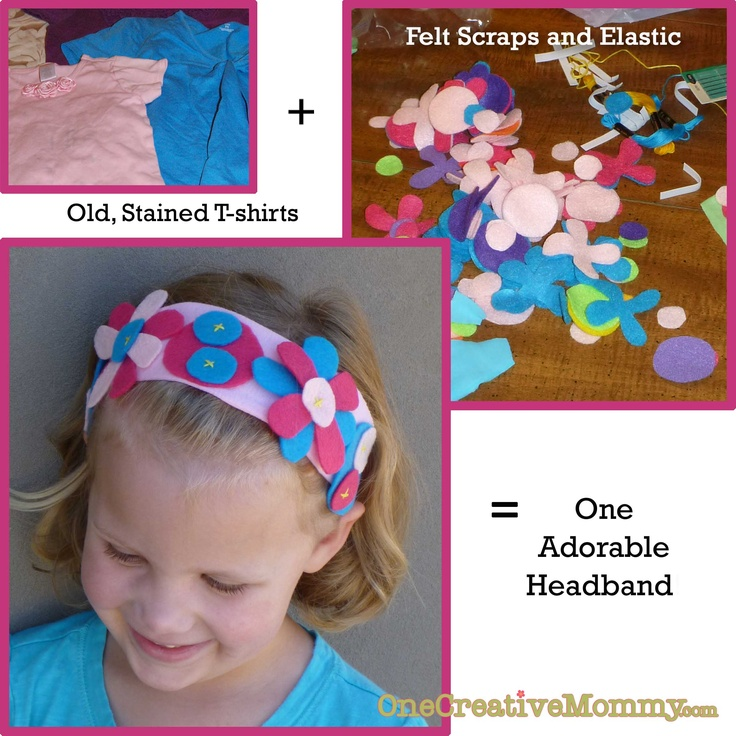 Flowered headband tutorial from OneCreativeMommy.com  (Recycle old t-shirts.  Your kids can make these!)