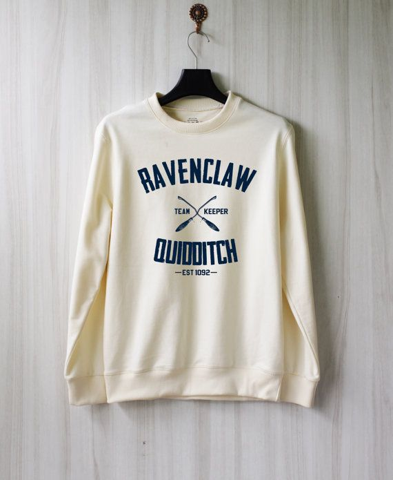 Ravenclaw Quidditch Harry Potter Shirt Sweatshirt Sweater Shirt – Size: S. Color: Cream/Off-white.