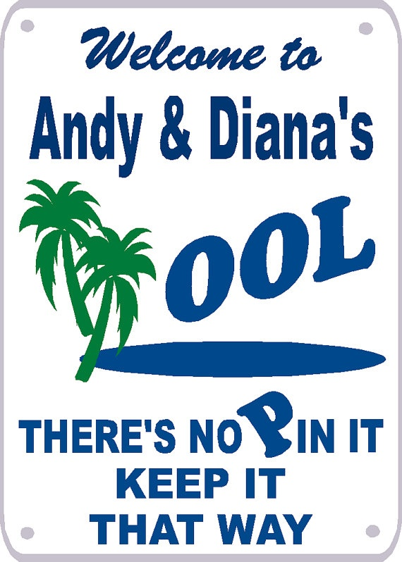 your name or names swimming pool sign by signlady4u - Pool Signs