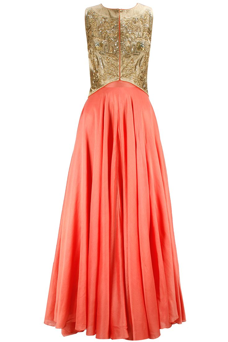 Love! Deep coral gown with gold embellished jacket available only at Pernia's Pop-Up Shop.