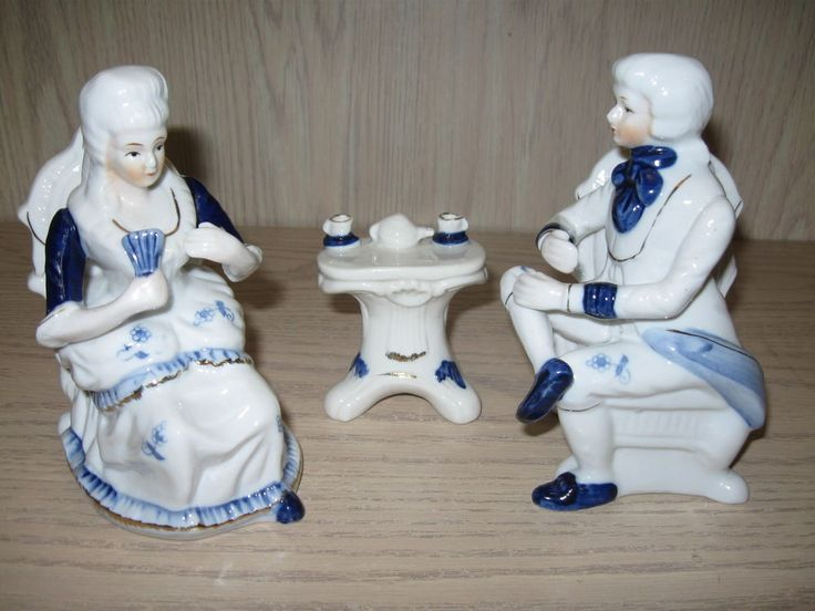 Victorian Iac International Man Amp Woman Figurine Sitting
