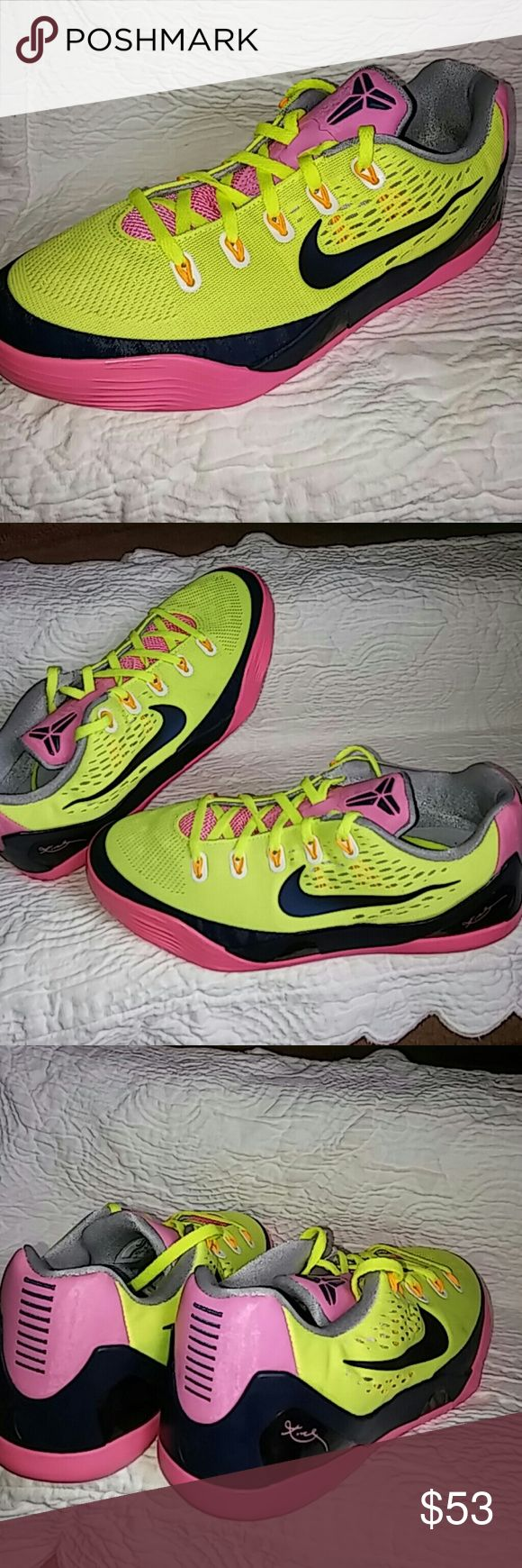 Nike Kobe Sneakers SIZE 6Y or SIZE 8 WOMEN Shoes worn just about 4 times and rated 9/10...In near new shape and condition..This is size 6Y or Size 8 WOMEN...Beautiful shoes with beautiful color combination. One of the finest Kobe Sneakers. Nike Shoes Sneakers