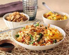 Nasi Tjampoer met boontjes en kip