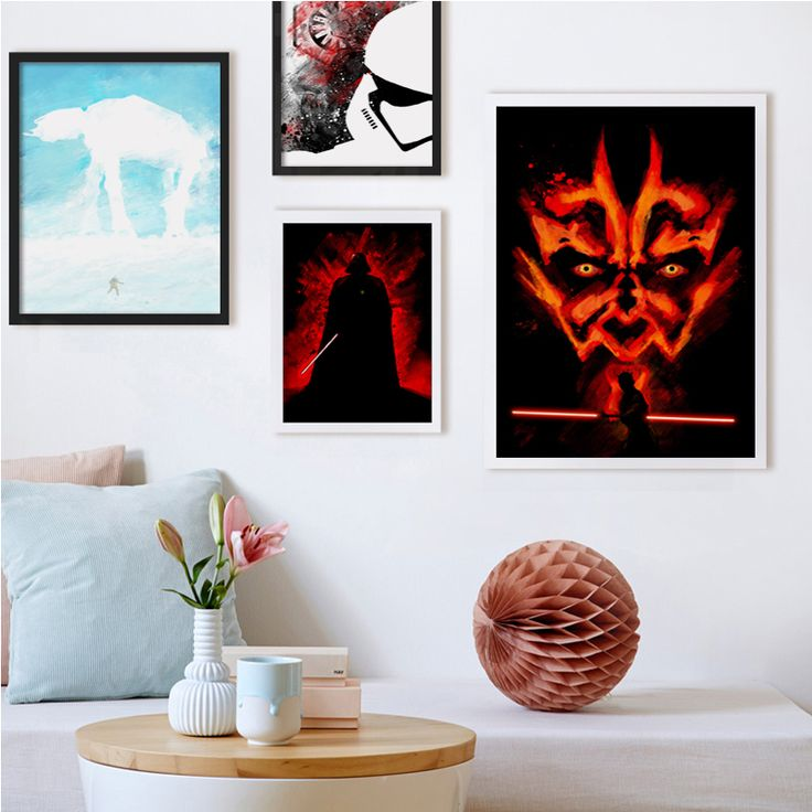 Bianche Wall Modern Simple Splash Movie Star Wars Canvas Painting Art Print Poster Picture Wall Paintings Child Bedroom Decor #Affiliate
