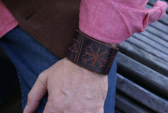 Leather Wristband Celtic-Runic Helm Family Name Leather Wristband-TYR Leather Wristband-Leather Wristbands-Rune Runes Runestone Leather Cuff