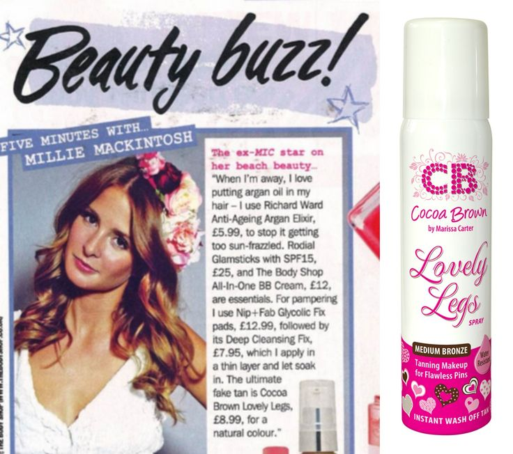 Millie Macintosh in Star Magazine showing her love for Cocoa Brown Lovely Legs!