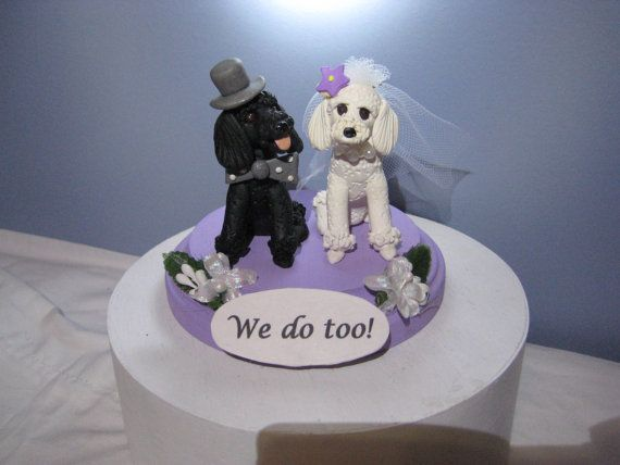 French poodle dogs Wedding Cake Topper handmade clay by PawsnClaws