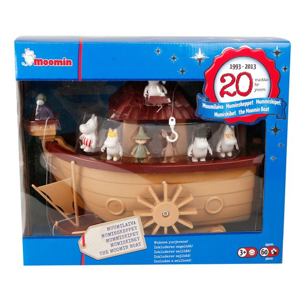 The Moomin Ship as a 20-year anniversary model. The package includes nine characters and a lot of other stuff. The boat is approximately 60cm wide as opened.